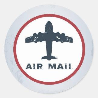 20 - 1.5  Envelope Seal Air Mail Plane USPS Postal Classic Round Sticker