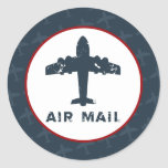 "20 - 1.5"" Envelope Seal Airplane Flight  Blue/Red Sticker"