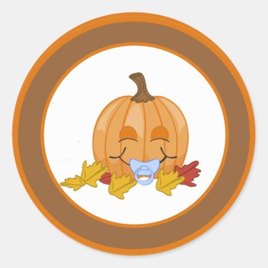 "20 - 1.5""  Envelope Seal Autumn Fall Pumpkin Baby Classic Round Sticker"