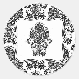 20 - 1.5  Envelope Seal Black White Damask Lace Pr Classic Round Sticker