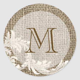 20 - 1 5 Envelope Seal Burlap Lace Country Wester Round Stickers