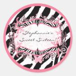 "20 - 1.5""  Envelope Seal Butterfly Zebra Print Stickers"