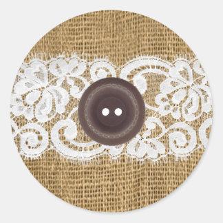 20 - 1.5 Envelope Seal Button Burlap Lace Classic Round Sticker