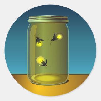 "20 - 1.5"" Envelope Seal Fireflies and Mason Jars Classic Round Sticker"