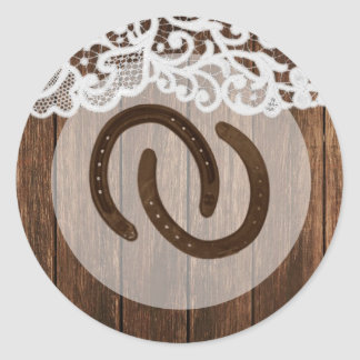 20 - 1.5  Envelope Seal Horse Shoes on Barn Wood