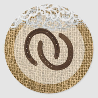 20 - 1.5  Envelope Seal Horse Shoes on Burlap Lace