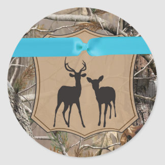 20 - 1.5  Envelope Seal Hunting Deer Doe Buck Camo Round Stickers
