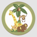 "20 - 1.5"" Envelope Seal Jungle Babies Classic Round Sticker"