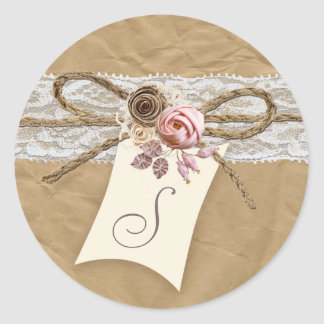 20 - 1.5  Envelope Seal Kraft Paper Lace Twine Bow