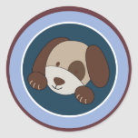 """20 - 1.5"""" Envelope Seal Lil League Puppy Dog Round Stickers"""