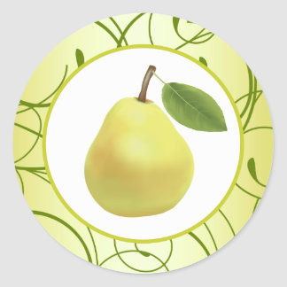 """20 - 1.5"""" Envelope Seal Lime Green Pear Swirls Classic Round Sticker"""