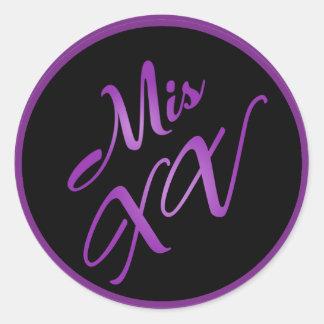 "20 - 1.5""  Envelope Seal Mis XV Purple Morado Classic Round Sticker"