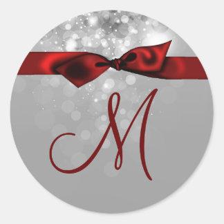 20 - 1.5  Envelope Seal Monogram Christmas XMAS Classic Round Sticker
