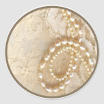 20 - 1.5 Envelope Seal Pearl & Lace Round Sticker