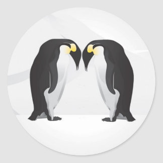 20 - 1.5  Envelope Seal Penguins Mate for Life Gra Classic Round Sticker