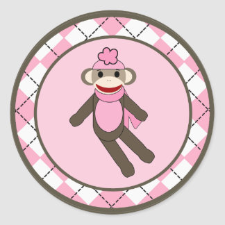 "20 - 1.5""  Envelope Seal Pink Argyle Sock Monkey Classic Round Sticker"