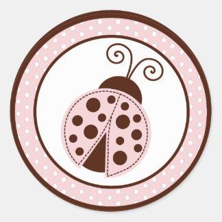 "20 - 1.5"" Envelope Seal Pink Ladybug Classic Round Sticker"