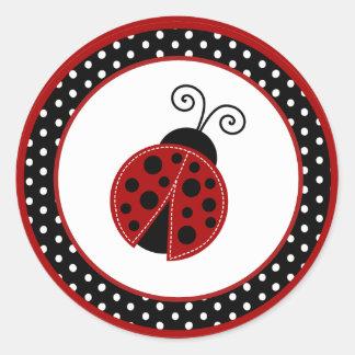 "20 - 1.5"" Envelope Seal Red Ladybug Classic Round Sticker"