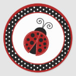 "20 - 1.5"" Envelope Seal Red Ladybug Classic Round Sticker"