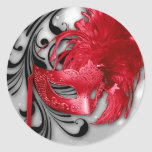 20 - 1.5  Envelope Seal Red on Silver Masquerade Stickers