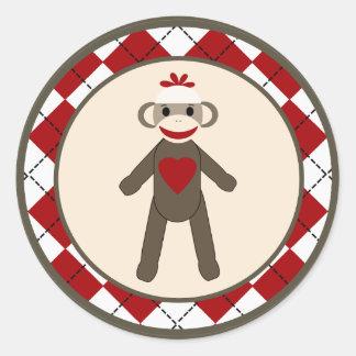 "20 - 1.5""  Envelope Seal Red Sock Monkey Argyle Classic Round Sticker"