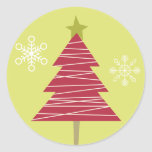 """20 - 1.5"""" Envelope Seal Red Tree Christmas Holly Round Sticker"""