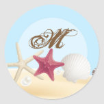 20 - 1.5  Envelope Seal Sea Shells Beach Sand Ocea Classic Round Sticker
