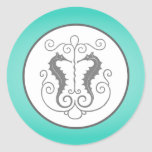 """20 - 1.5"""" Envelope Seal Seahorse Anchor Turquoise Round Stickers"""