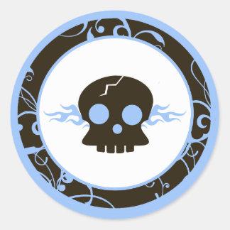 "20 - 1.5"" Envelope Seals Boy Blue Punk Skull Flame Classic Round Sticker"