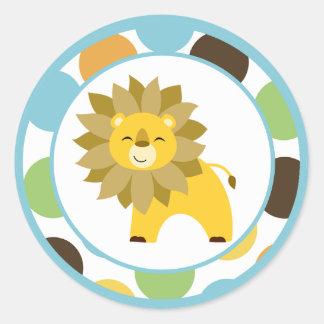 "20 - 1.5""  Envelope Seals Jungle King Lion Safari Classic Round Sticker"