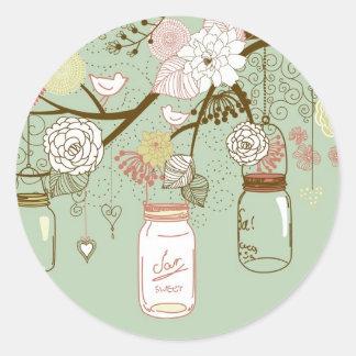 "20 - 1.5"" Envelope Spring Floral Mason Jars green Classic Round Sticker"