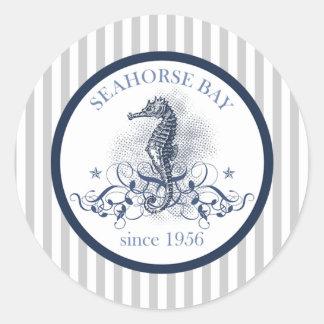 "20 - 1.5"" Envelope Sticker Blue Seahorse stripes b"