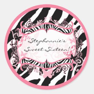 """20 - 1,5"""" estampado de zebra de la mariposa del pegatinas redondas"""