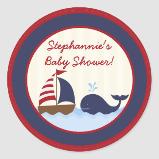 """20 - 1.5""""  Favor Stickers Ahoy Nautical Whale Boat Round Sticker"""