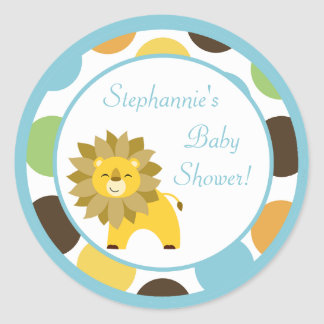 "20 - 1.5""  Favor Stickers Jungle King Lion Safari Round Sticker"