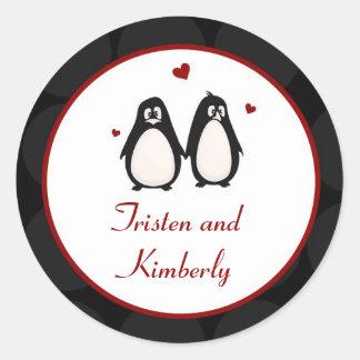 "20 - 1.5""  Favor Stickers Penguin Love Couple Mate"
