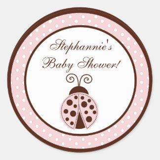 "20 - 1.5""  Favor Stickers Pink Ladybug"