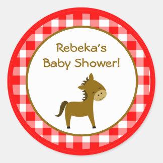 "20 - 1.5"" Favor Stickers Red Barn Farm Animals"