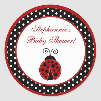 """20 - 1.5""""  Favor Stickers Red Ladybug"""