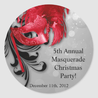 """20 - 1.5""""  Favor Stickers Red on Silver Masquerade"""