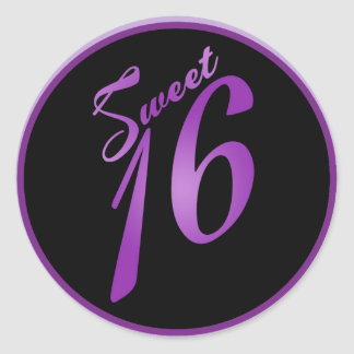 "20 - 1.5""  Favor Stickers Sweet 16 Purple Lilac Round Sticker"