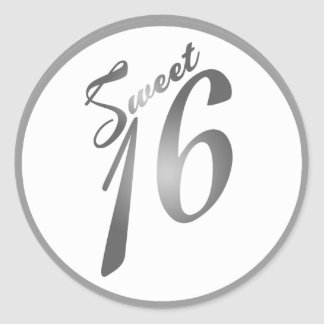 "20 - 1.5""  Favor Stickers Sweet 16 Silver White"