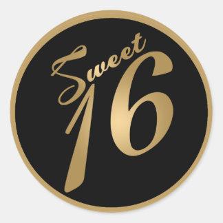 """20 - 1,5"""" fiesta negro del oro del dulce 16 del pegatina redonda"""