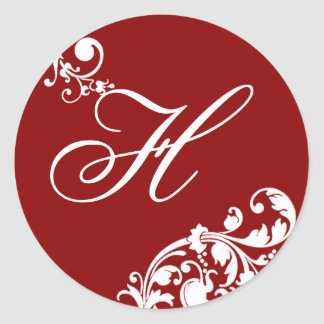 "20 - 1,5"" floral blanco del rojo carmesí del sello pegatina redonda"