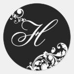 20 - 1,5 florales blancos del negro del sello del etiquetas redondas