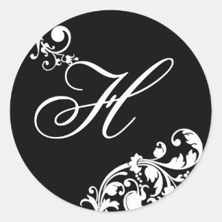 20 - 1,5 florales blancos del negro del sello del pegatina redonda