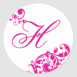 20 - 1,5 florales rosados candentes del sello del pegatina redonda