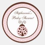 """20 - 1,5"""" mariquita rosada de los pegatinas del etiquetas redondas"""