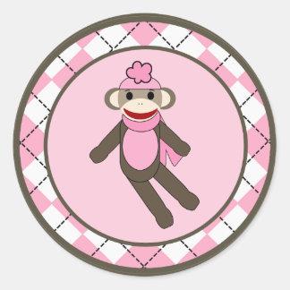 """20 - 1,5"""" mono del calcetín de Argyle del rosa del Etiqueta Redonda"""