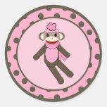 """20 - 1,5"""" mono rosado del calcetín de los pegatinas redondas"""